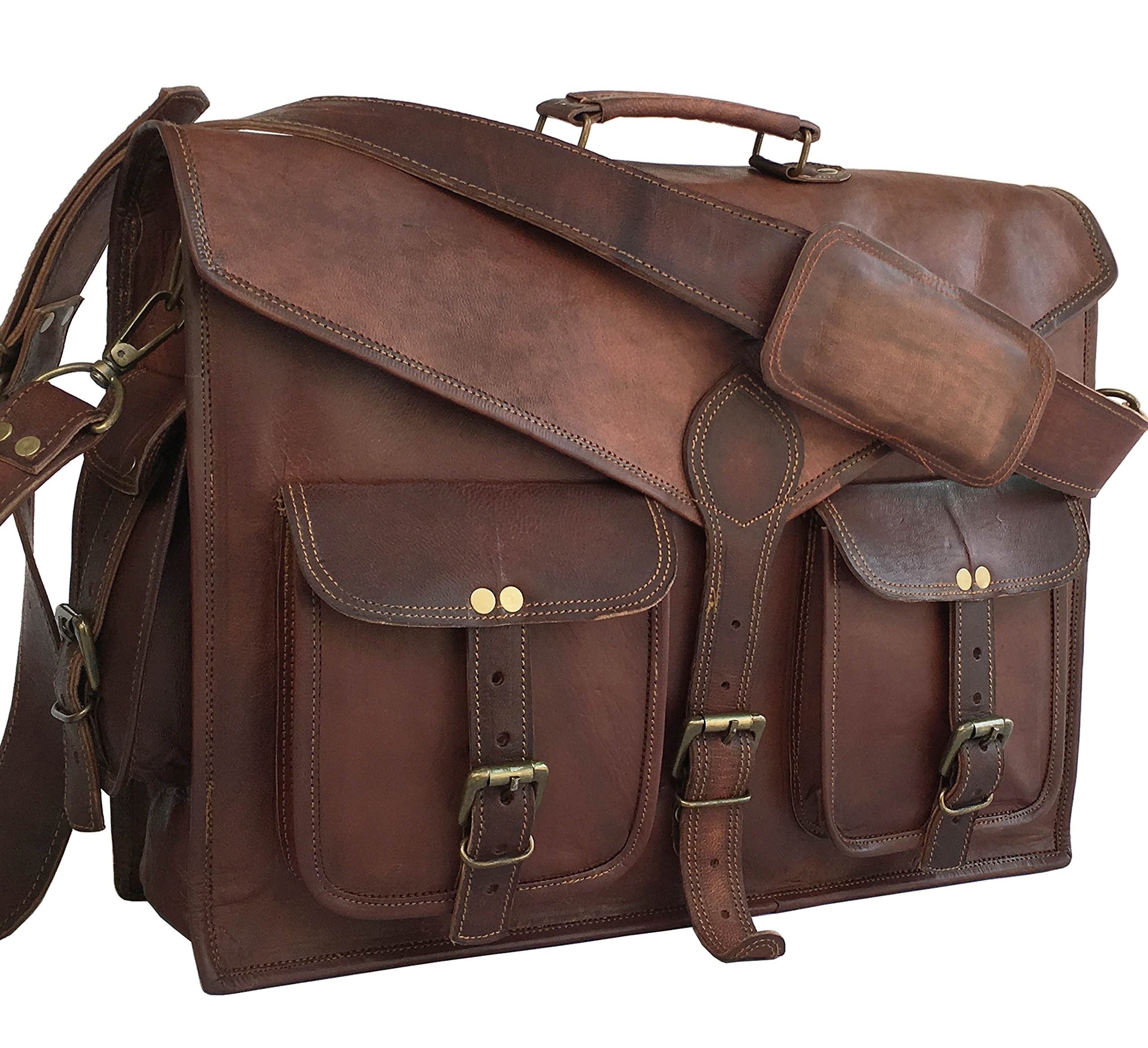 DHK 18'' ABB HANDMADE VINTAGE LEATHER MESSENGER BAG FOR LAPTOP AND OTHER ACCESSORIES BRIEFCASE SATCHEL BAG by DHK
