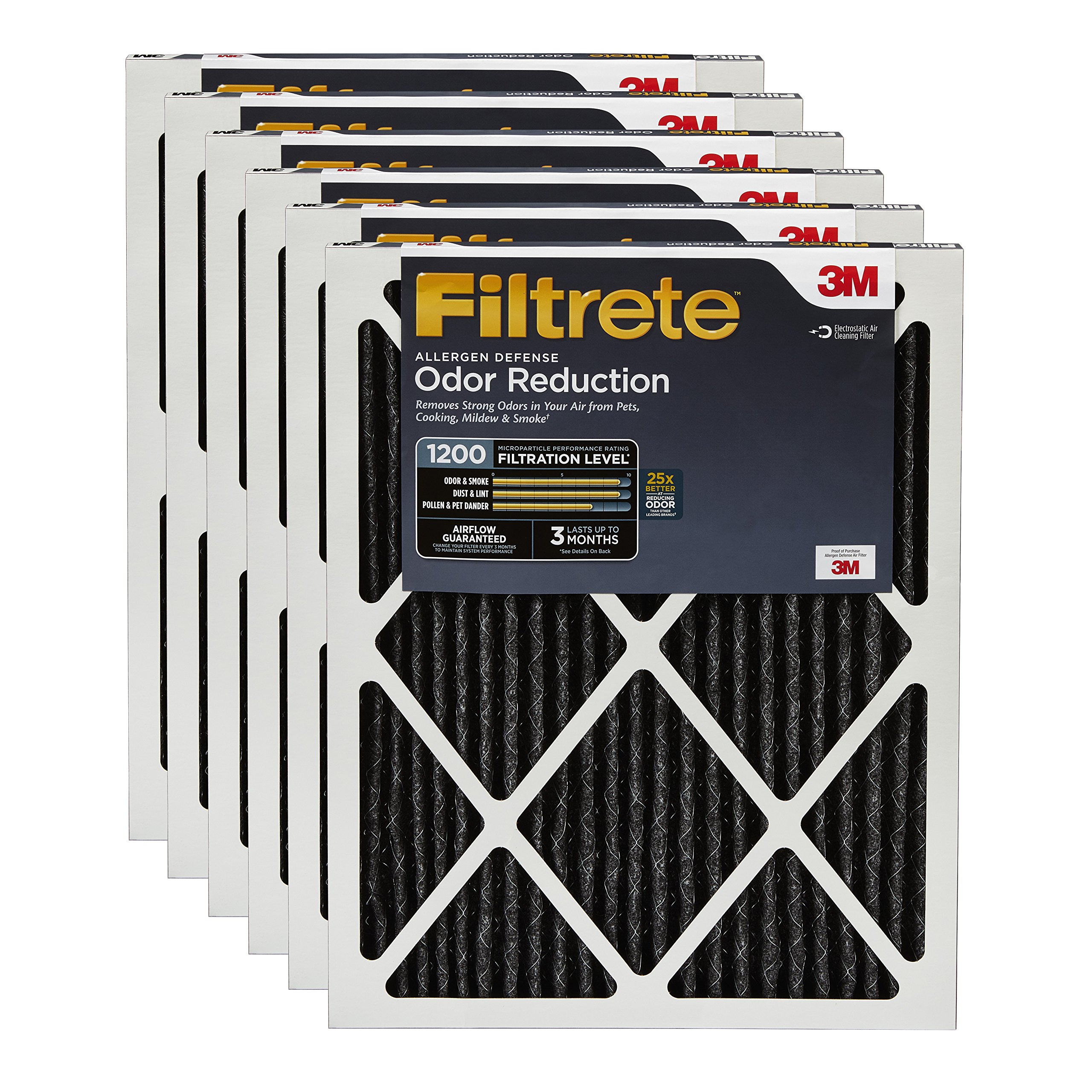 Filtrete MPR 1200 14 x 30 x 1 Allergen Defense Odor Reduction HVAC Air Filter, 6-Pack