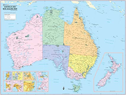 Australia And New Zealand Map Amazon.: Cool Owl Maps Australia & New Zealand Wall Map Poster