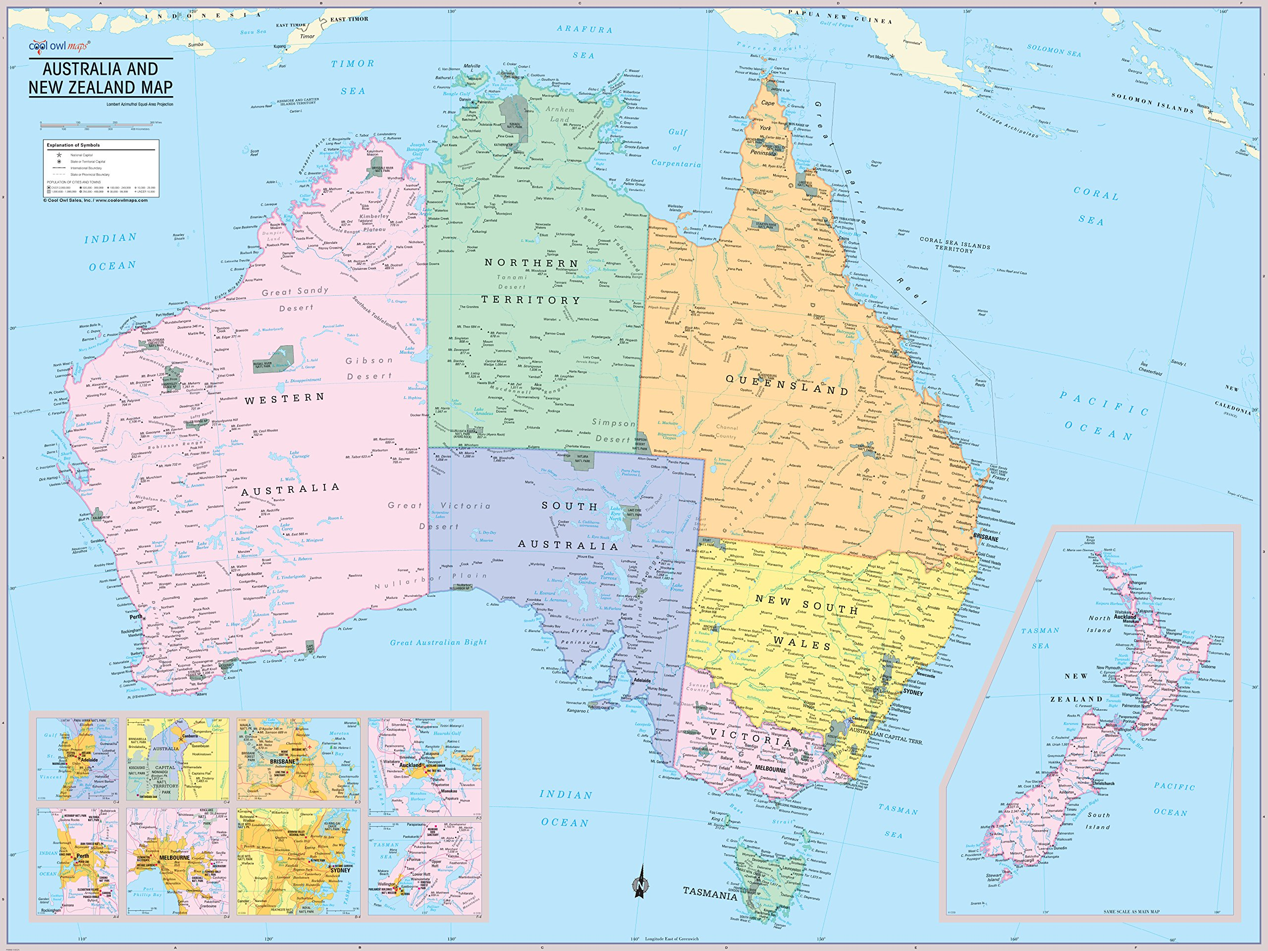 Cool Owl Maps Australia & New Zealand Wall Map Poster (Paper 40''x30'')