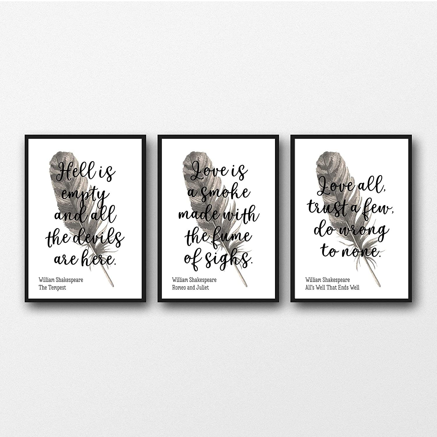 Sin Marco Unframed Prints Set of 3 William Shakespeare Quotes