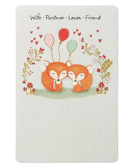 Amazon.com: Fox Tarjeta de cumpleaños para esposa con papel ...