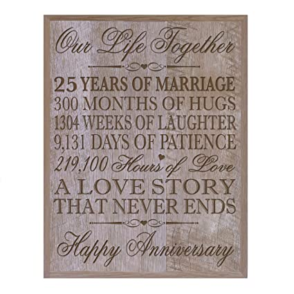 25th Wedding Anniversary Gifts.Lifesong Milestones 25th Wedding Anniversary Wall Plaque Gifts For Couple 25th For Her Gifts For Him 10 75 Wx 13 H Wall Plaque Barnwood