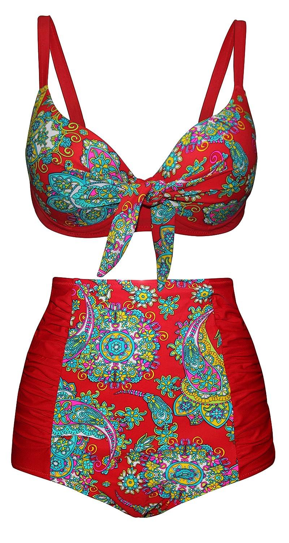 Angerella Mujer Cintura Alta Traje de Baño Bikini