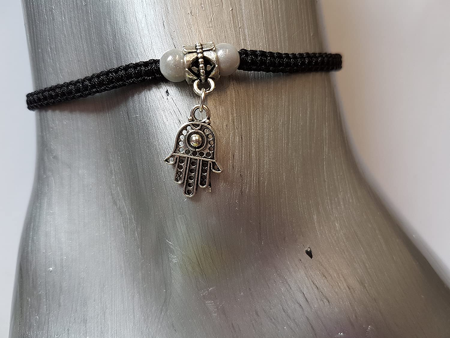 Hamsa hand anklet with white beads
