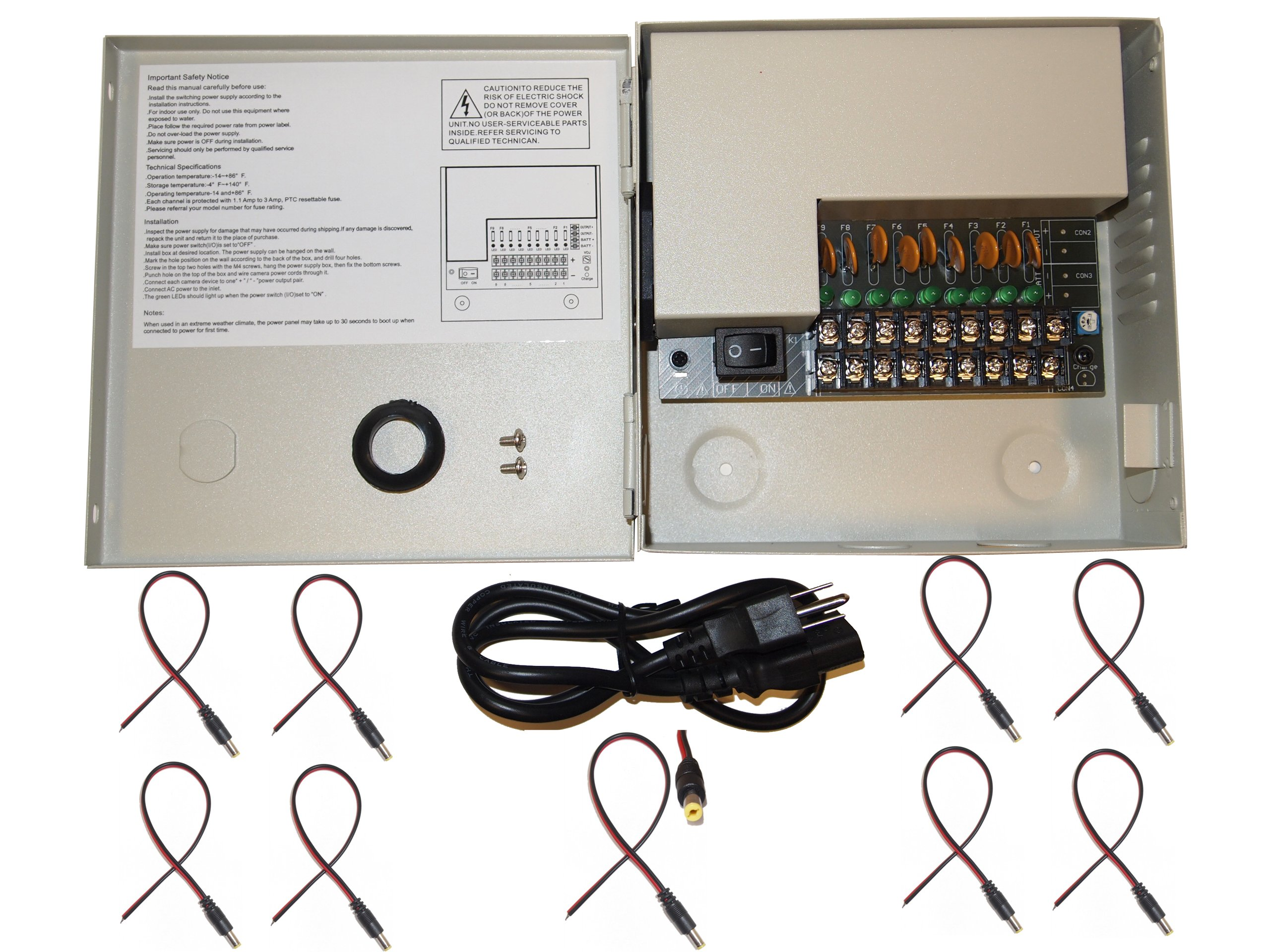 Evertech 9 Channel Output 12V DC CCTV Distributed Power Box with 9 Pcs. DC Pigtail for Security Camera Power Supply