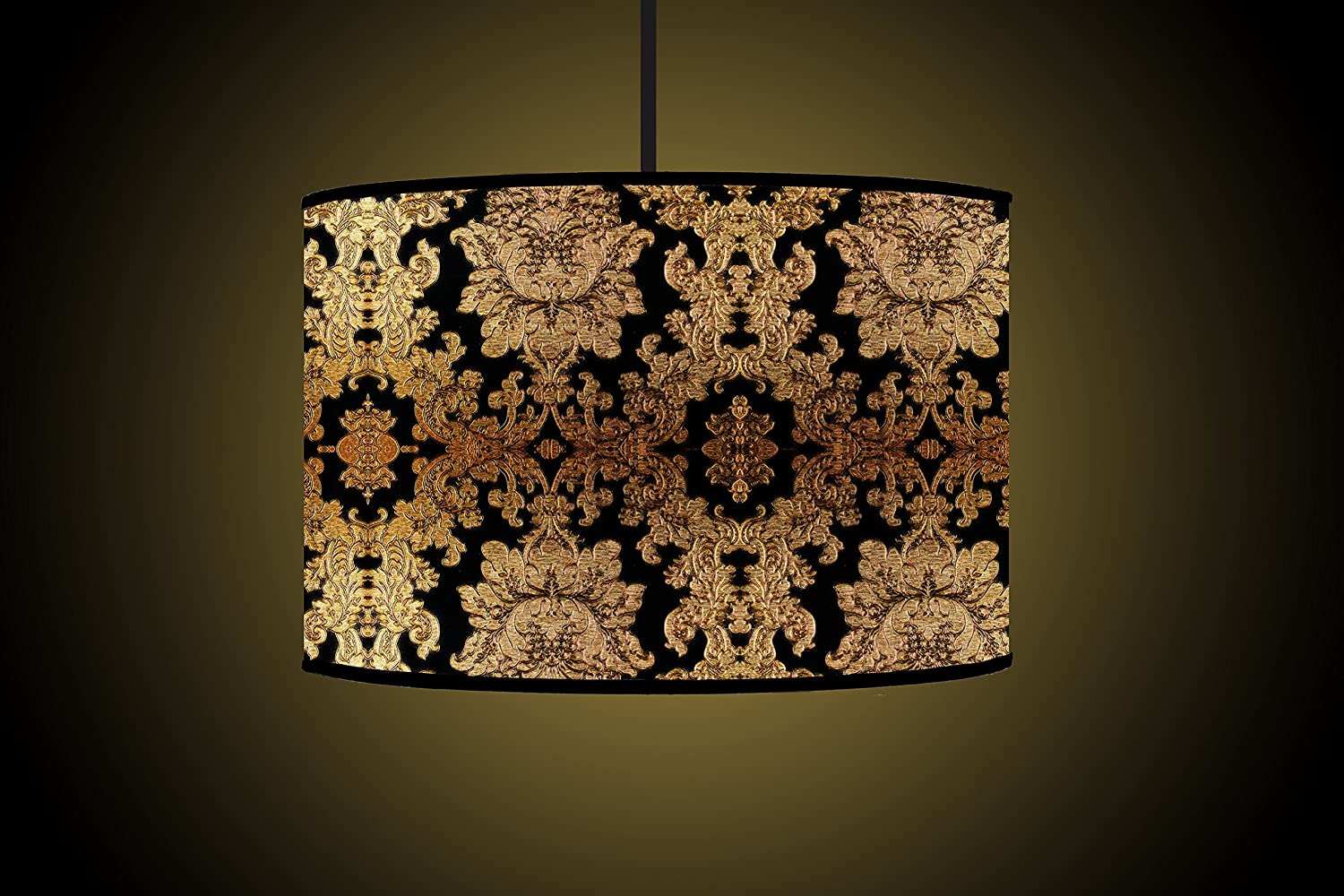 Superior 30CM Black Gold Drum Lampshade Handmade Printed Fabric Floor Lamp Shade  Ceiling Light Lampshade: Amazon.co.uk: Lighting