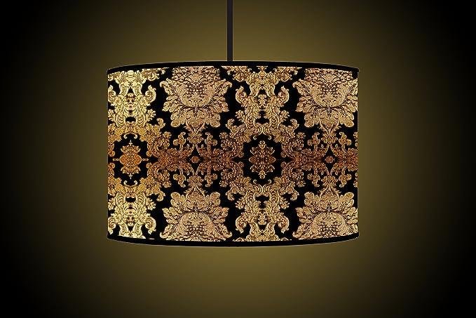 30cm Black Gold Drum Lampshade Handmade Printed Fabric Floor Lamp
