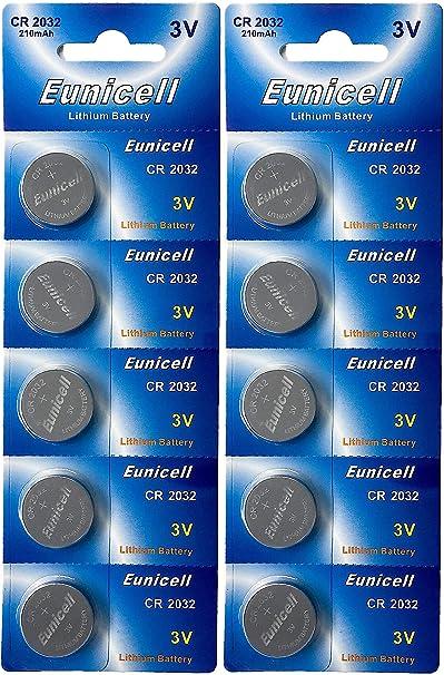 Eunicell 10 X Cr2032 3v Lithium Knopfzelle 210 Mah Elektronik