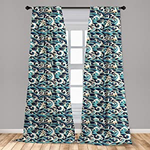 Ambesonne Nautical Window Curtains, Traditional Oriental Style Ocean Waves Pattern with Foam and Splashes Print, Lightweight Decorative Panels Set of 2 with Rod Pocket, 56