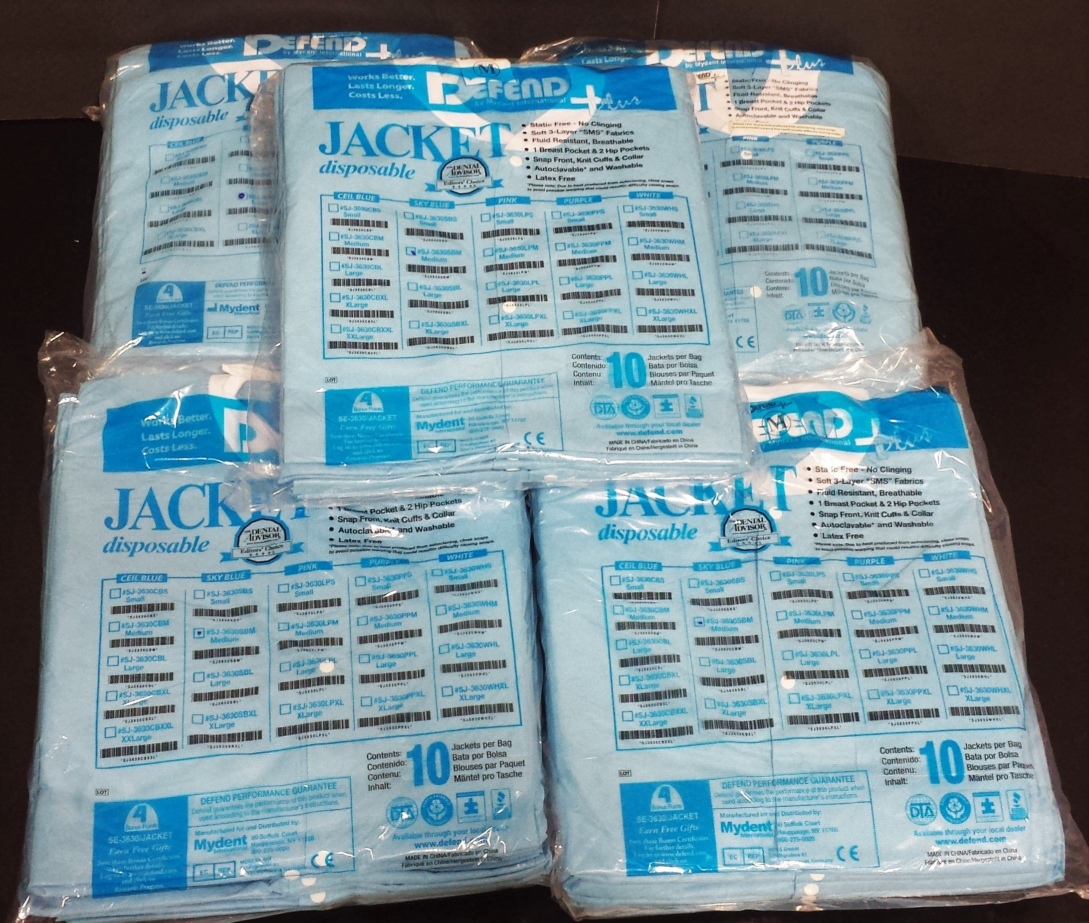 DEFEND Disposable Lab Jacket SKY BLUE (Medium) 50/box