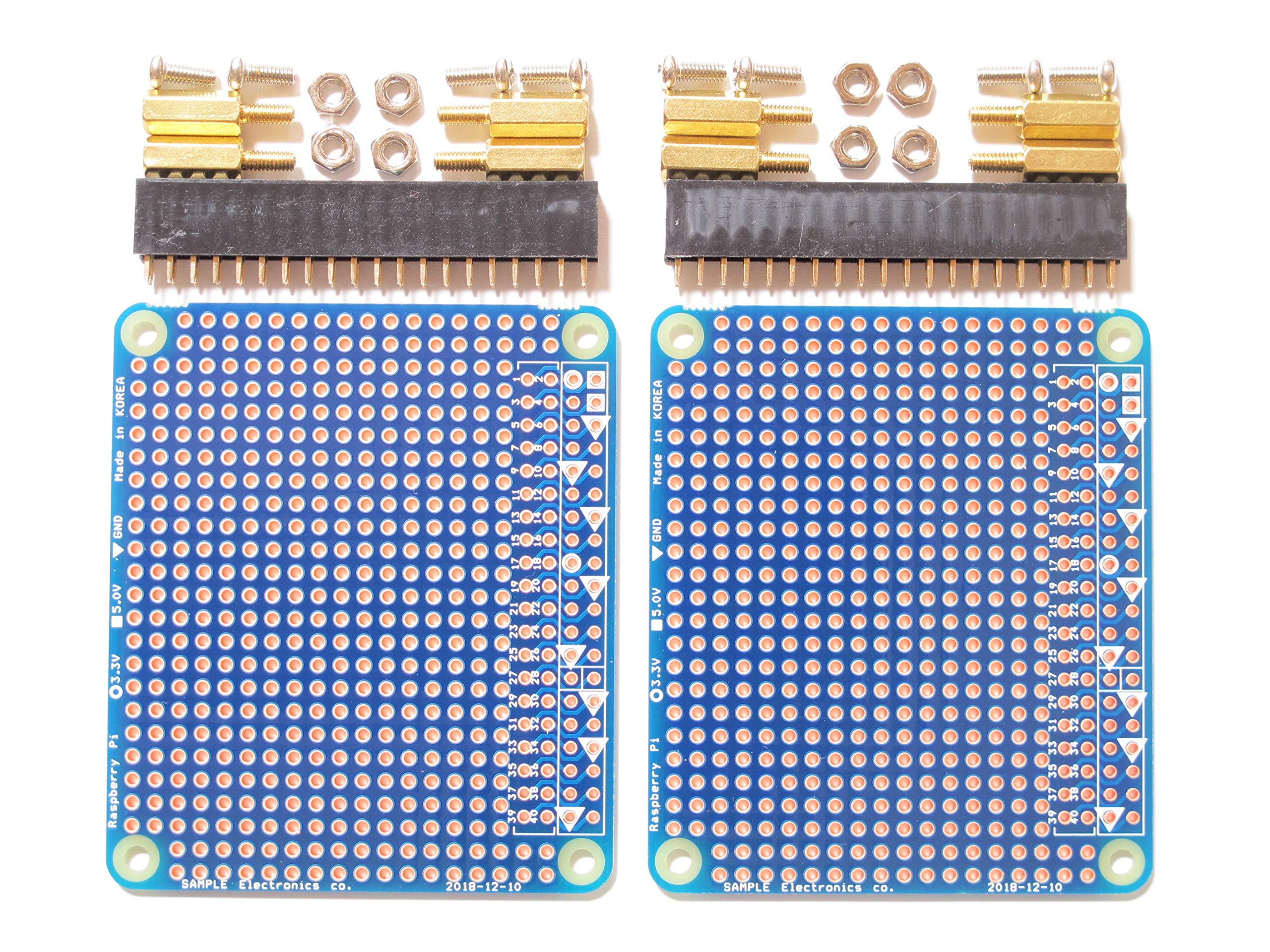 Sample 2X Prototype Breakout PCB Shield/Hat Board Kit for Raspberry Pi 3 2 B+ DIY [SE-RPiPSTx2]