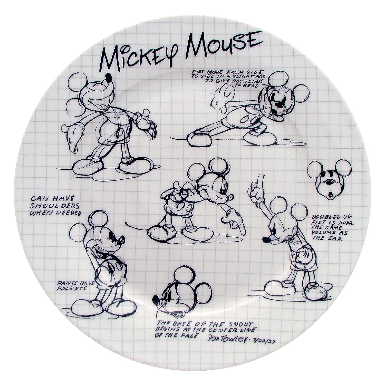 Amazon.com: Disney Sketchbook Mickey Dinner Plate, Set of 4: Disney ...