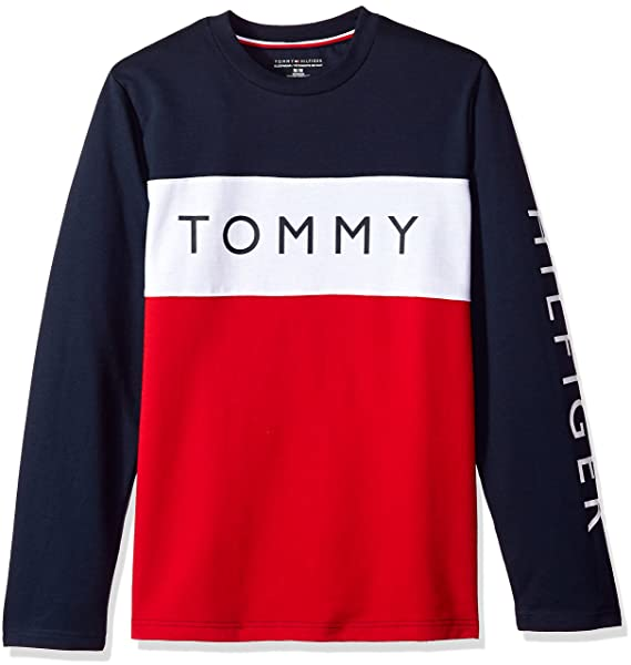 326151a4 Tommy Hilfiger Men's Modern Essentials French Terry Sweatshirt, Dark  Navy/Color Block Logo XX