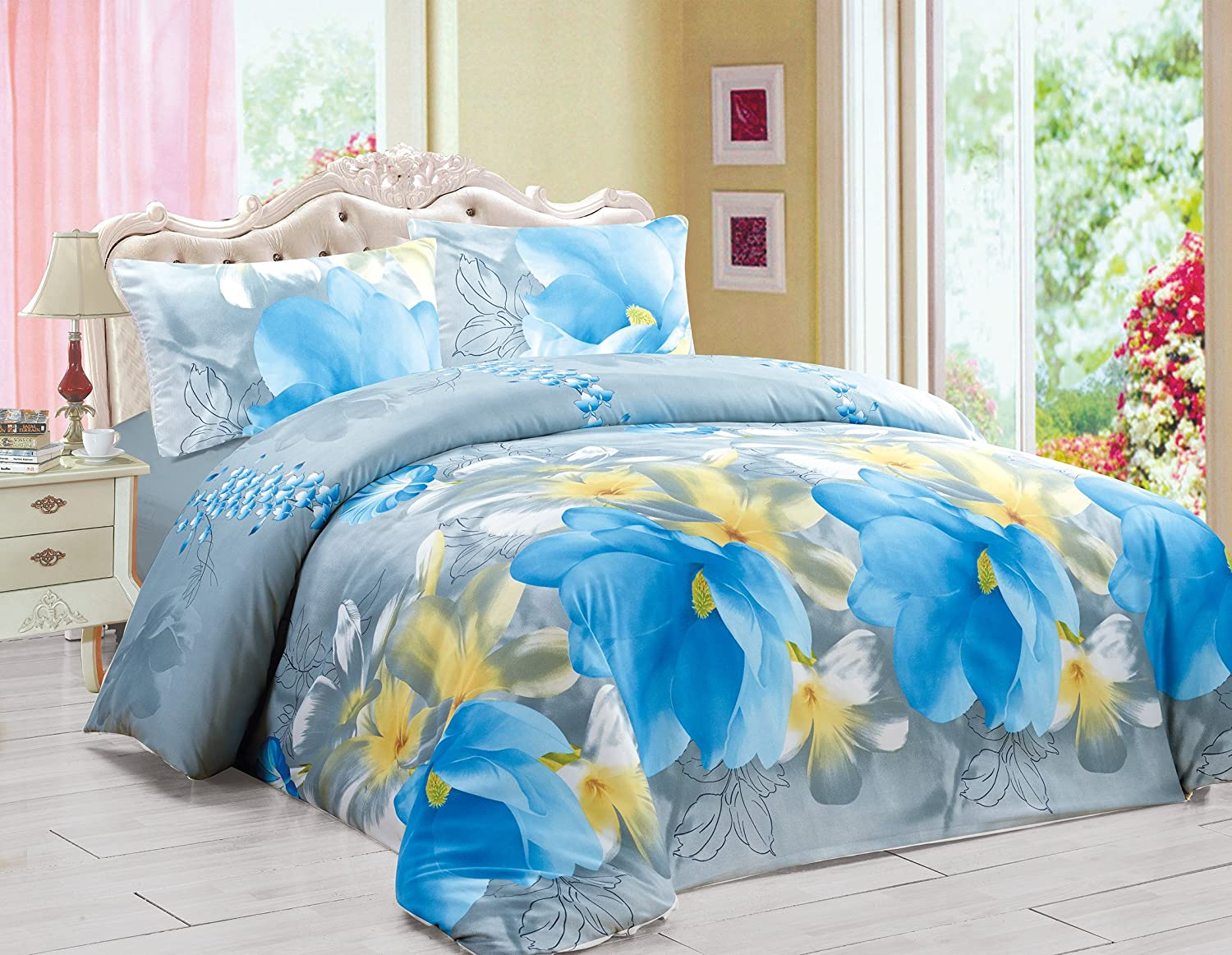 3D Effect Duvet Quilt Cover Bedding Set with Fitted Sheet + Pillow Cases Floral (BONNIE, King)