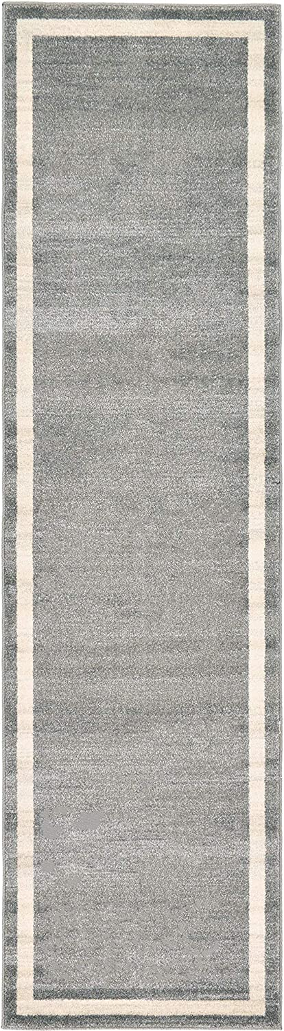 Unique Loom Del Mar Collection Contemporary Transitional Gray Runner Rug (2' 7 x 10' 0)