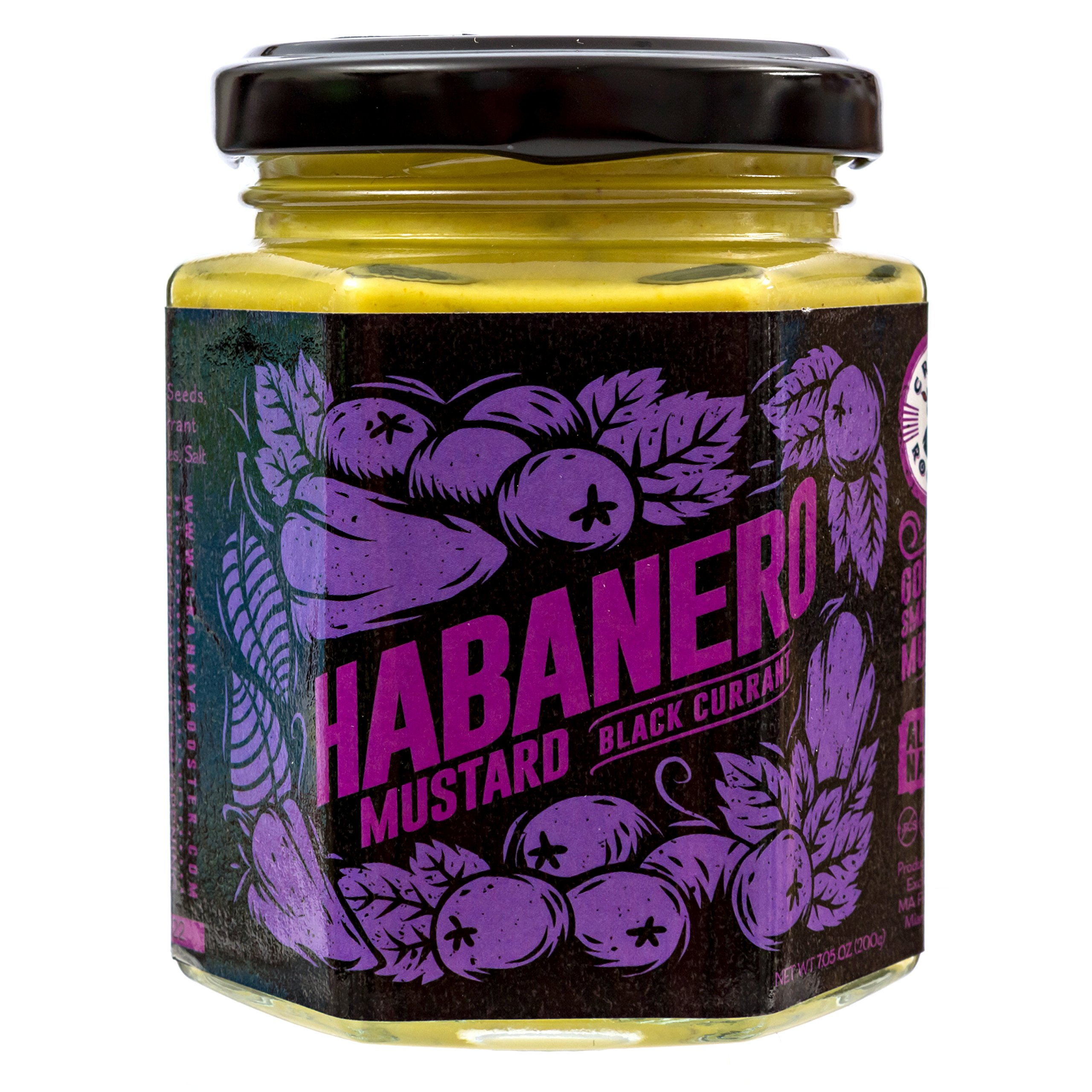 Cranky Rooster Small Batch Spicy Mustard - Habanero/Black Currant - All Natural - No Preservatives
