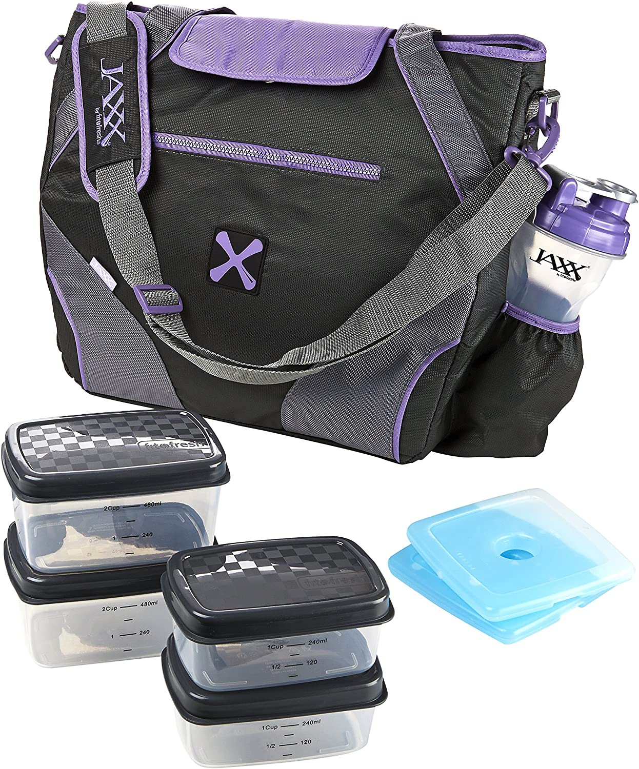 Fit & Fresh Jaxx FitPak Ares Gym/Meal Prep Bag with Leakproof Portion Control Container Set and Ice Pack, Purple