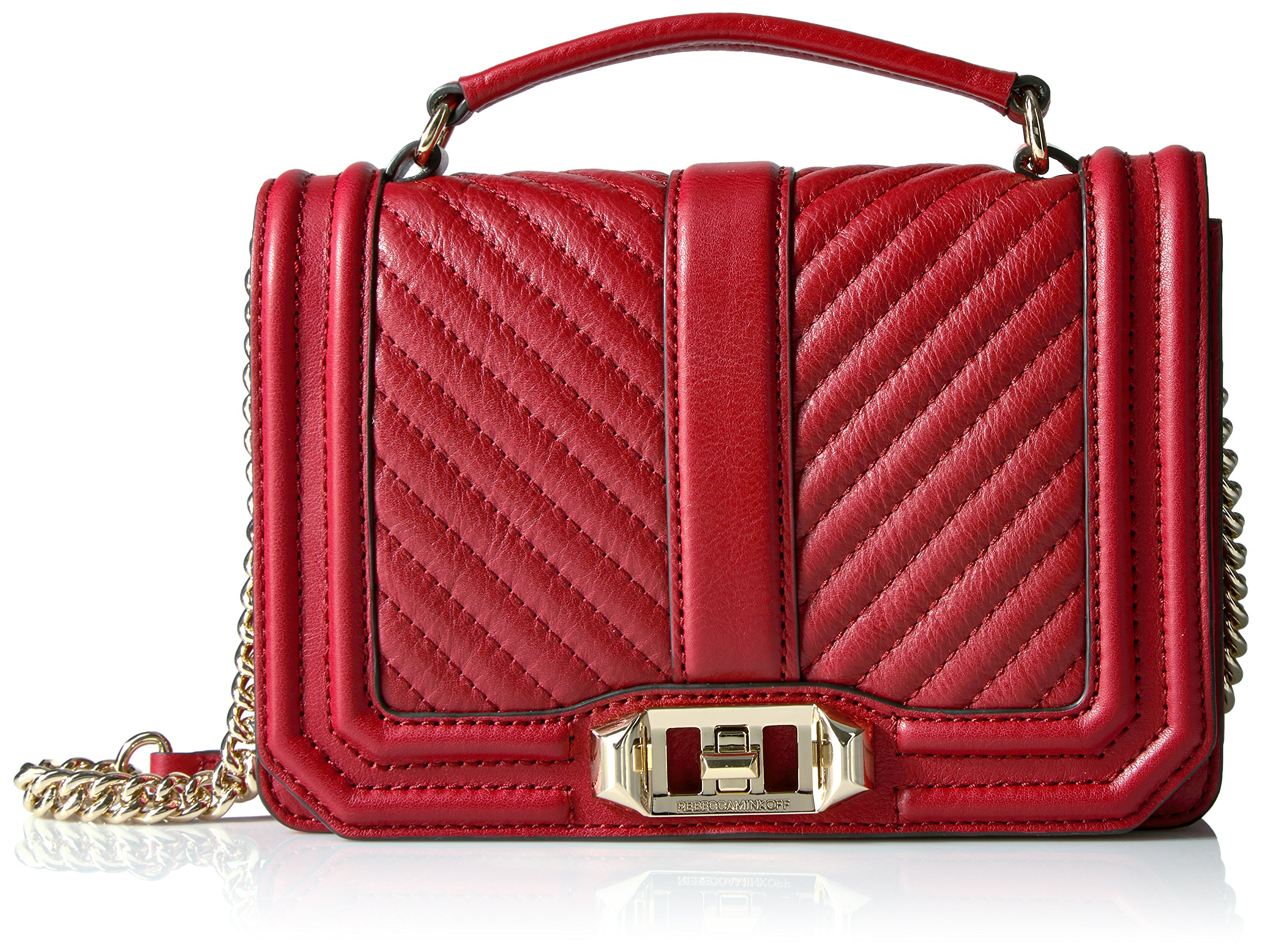 Rebecca Minkoff Chevron Quilted Small Love Crossbody with Top Handle, Deep Red by Rebecca Minkoff (Image #1)