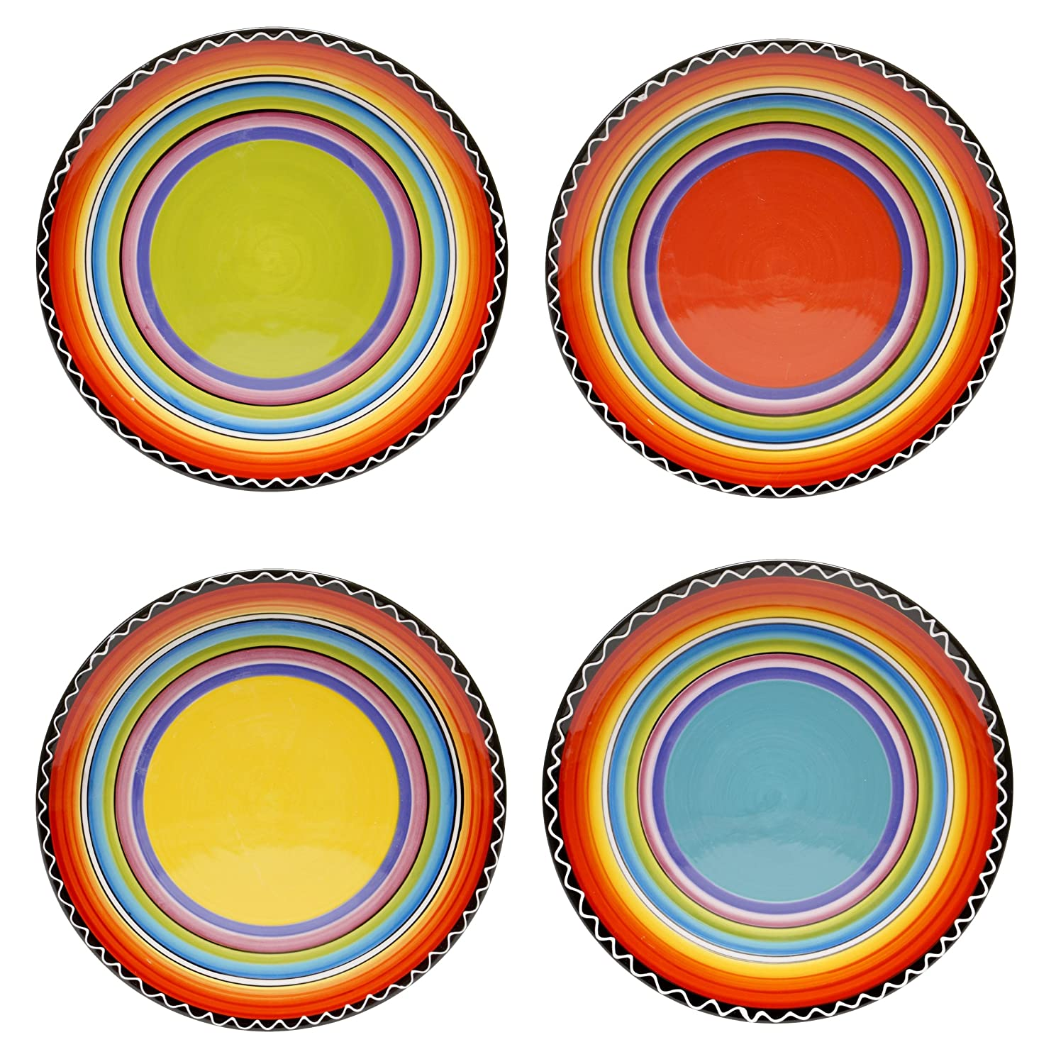 Certified International Tequila Sunrise Salad/Dessert Plate, 9-Inch, Assorted Designs, Set of 4 Certified International Corp 43531SET/4
