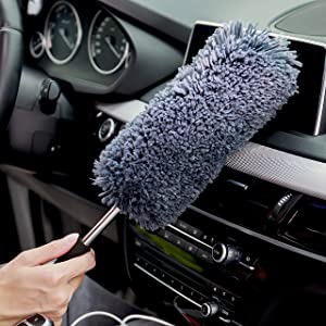 Multi-Functional Car Dash Duster - Free Microfiber Towel - Lint Free - Unbreakable Comfort Handle - Interior & Exterior Use - Car Cleaning Products Accessories