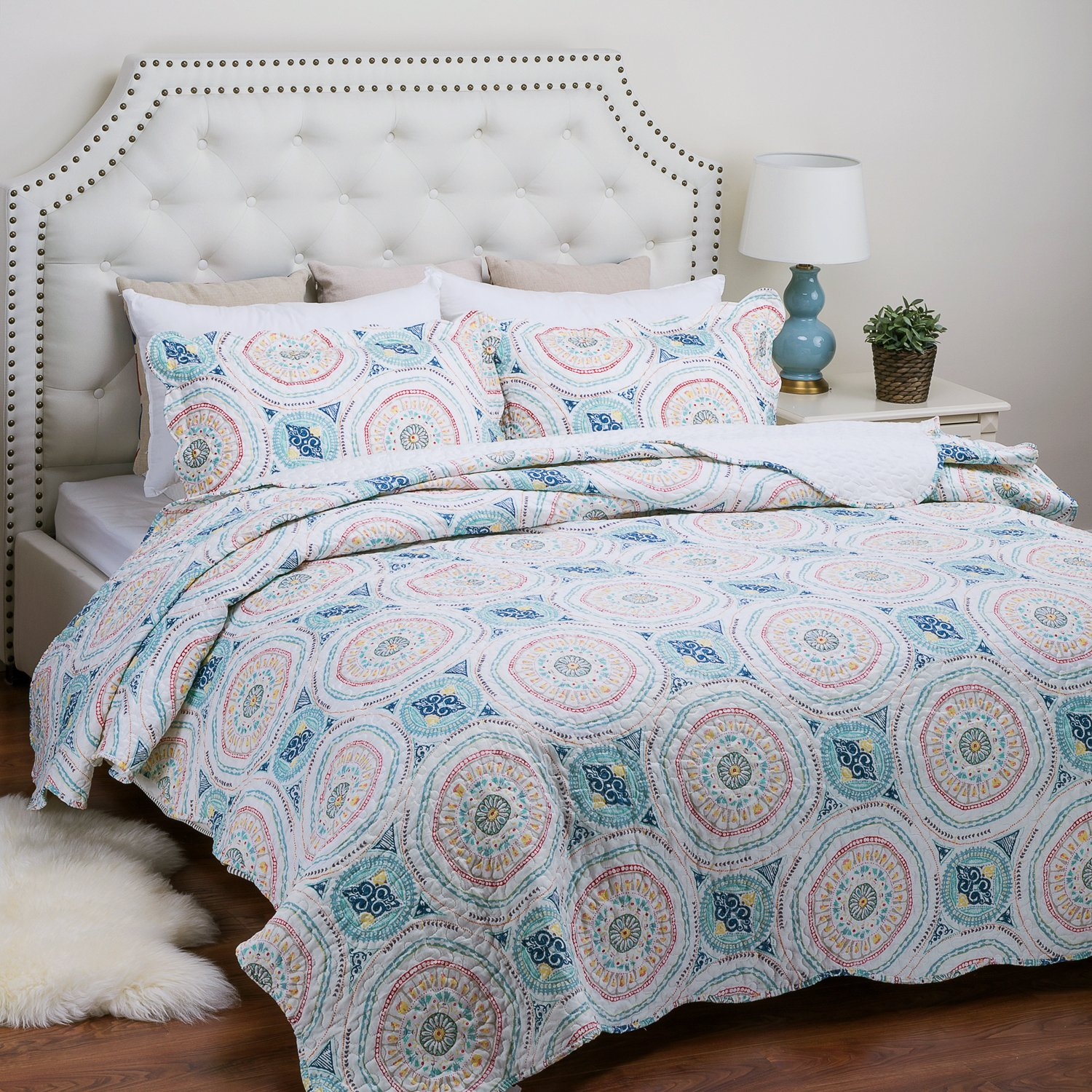 Printed Quilt Coverlet Set Twin Blue Aqua Boho Medallion Pattern