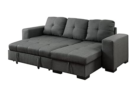 best sneakers 4a4de 0a370 Furniture of America Charlton Contemporary Corner Sectional with Pull-Out  Sleeper, Gray
