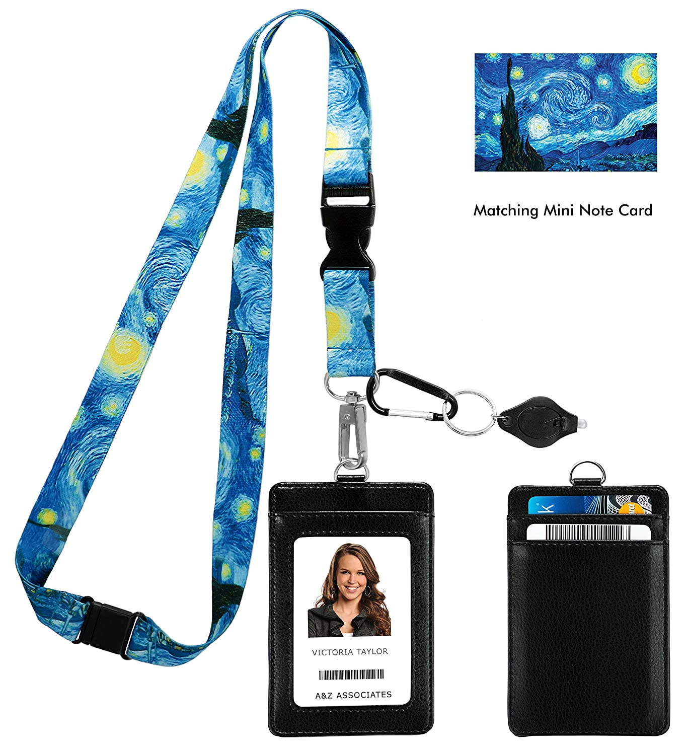 Vincent Van Gogh the Starry Night Print Lanyard with PU Leather ID Badge Holder with Front and Back pockets, Safety Breakaway Clip and Matching Note Card. Carabiner Keychain Flashlight. One In A Millionaire