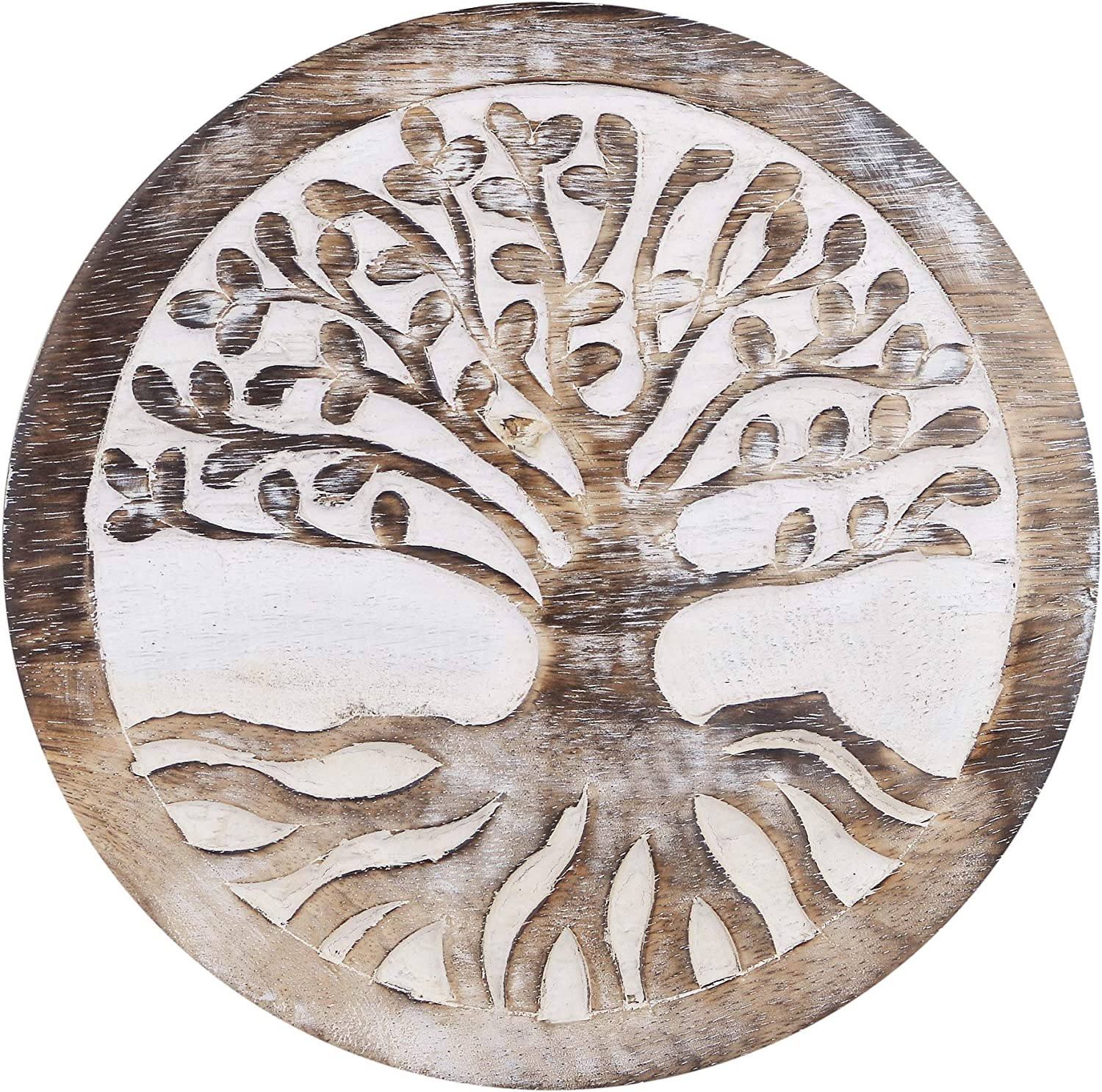 Gifts For Women Wooden Trivets For Hot Pots and Pans Tea Pot Holders Hot Pads Tree of Life Design Modern Farmhouse Kitchen Counter Decor Dia 8'' Inch - Set of 2 (Walnut)