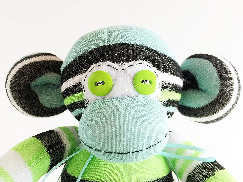 Green Sock Monkey -Striped- Monkey Stuffed Animal Unisex Sock Monkey Blue Monkey Plush Striped Stuffed Animal Striped Sock Monkey