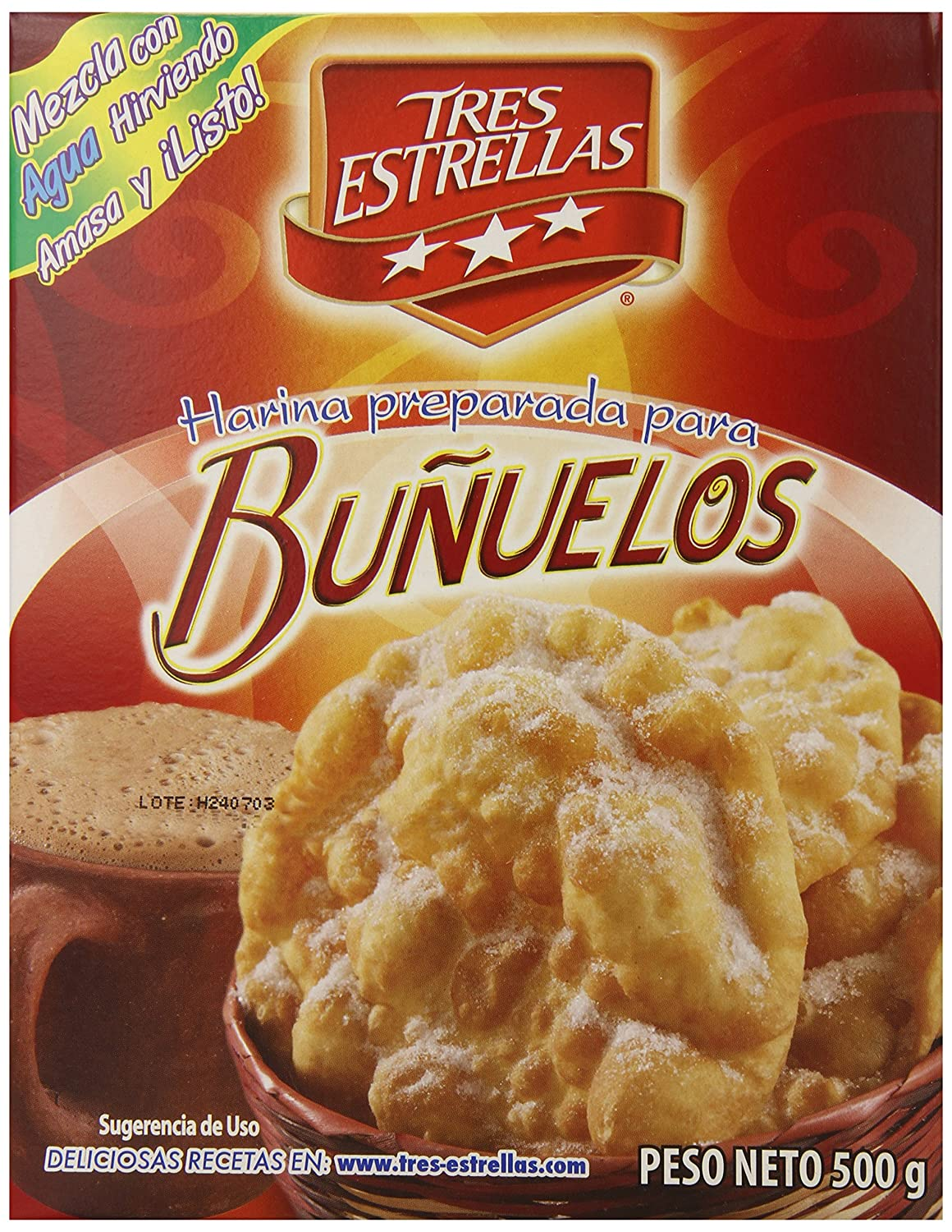Amazon.com : Tres Estrellas Bunuelos Flour Mix, 17.6 Ounce (Pack of 12) : Grocery & Gourmet Food