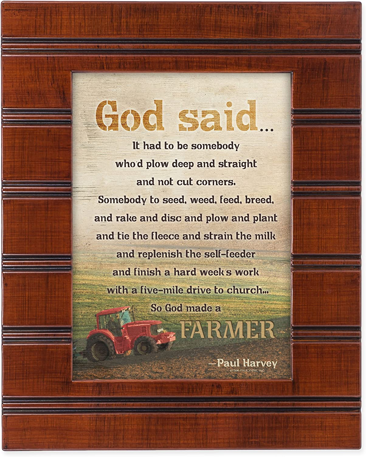 So God Made a Farmer Red Tractor Wood Finish 8 x 10 Sentimental Framed Art Plaque - Holds 5x7 Photo