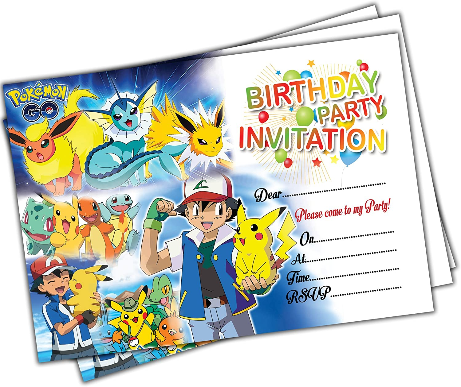 Pokemon Go Kids Birthday Party Invitations Pack Of 20 A6 Cards Invites Girls Boys Childrens