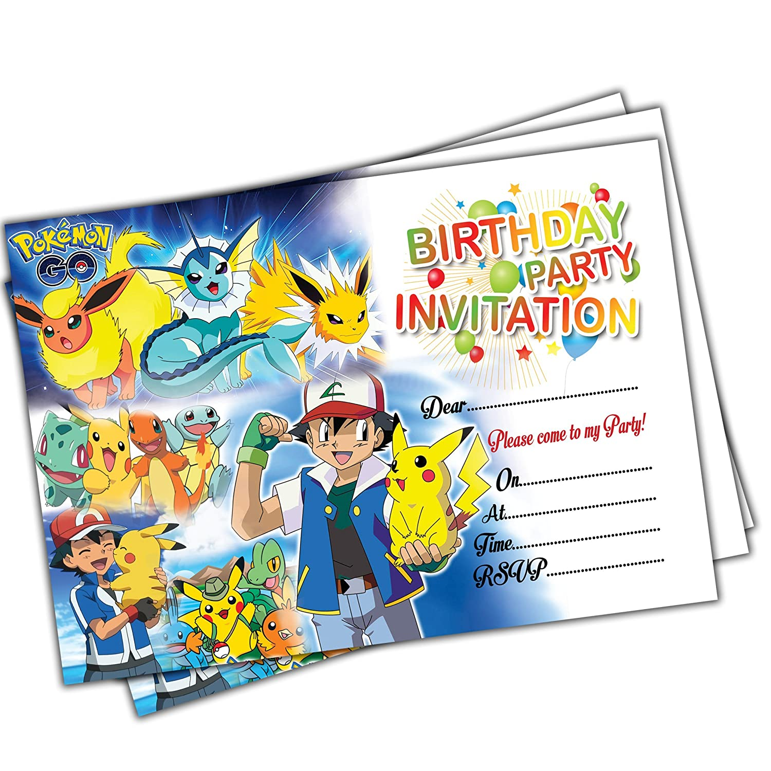 20 x Pokemon Go Kids Birthday Party Invitations Invites Cards Quality Girls Boys Eli Belinde