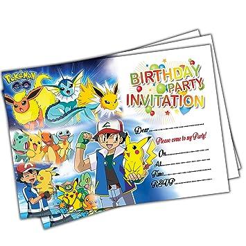 20 X Pokemon Go Kids Birthday Party Invitations Invites Cards Quality Girls Boys Amazoncouk Toys Games