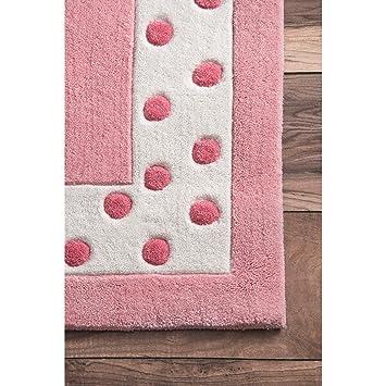 Pink nuLOOM Polka Dot Solid Nursery Kids Rug 5 x 8