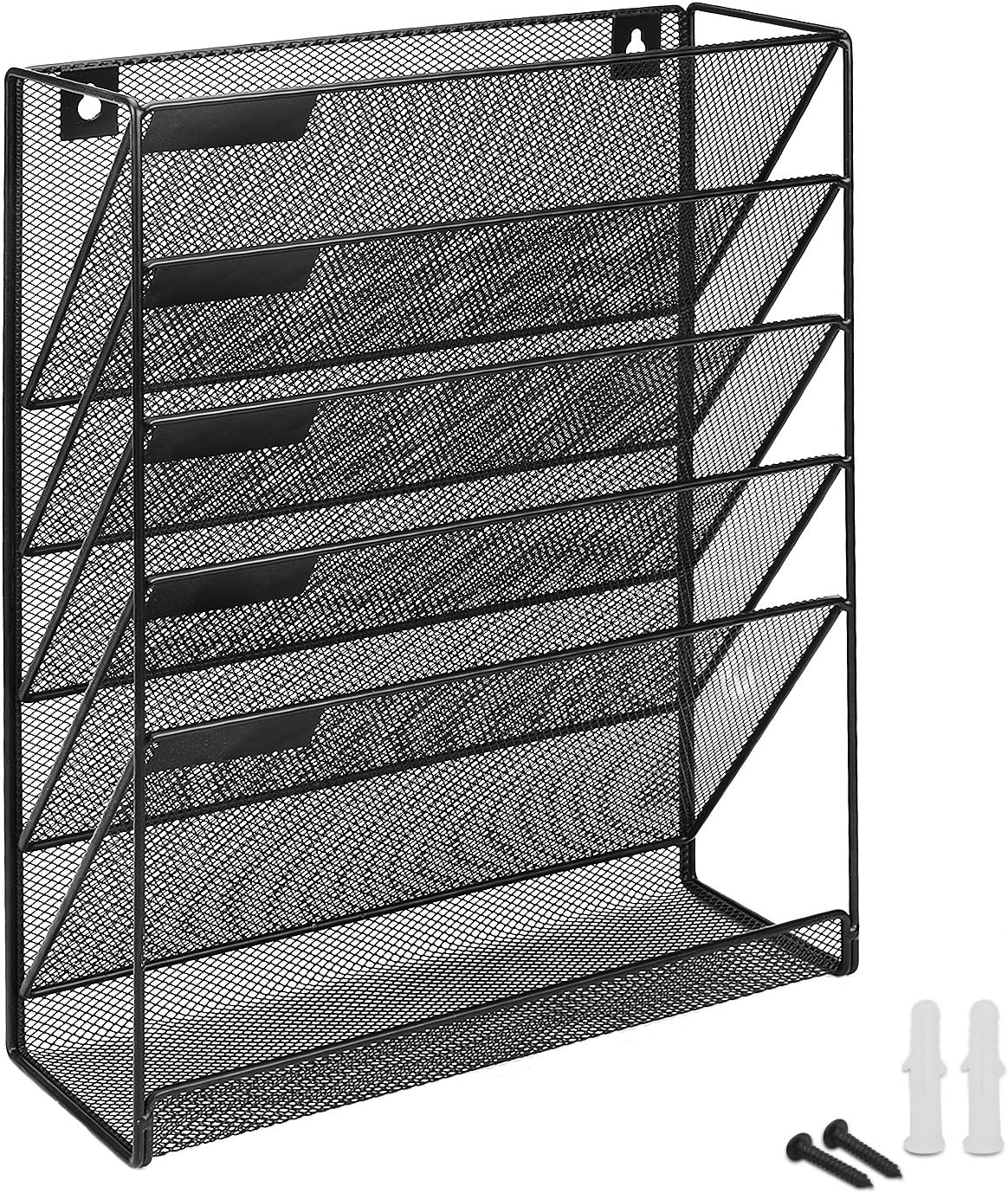 Metal Magazine Newspaper Book Rack Basket Wall Mounted Post Letter Pamphlet Home