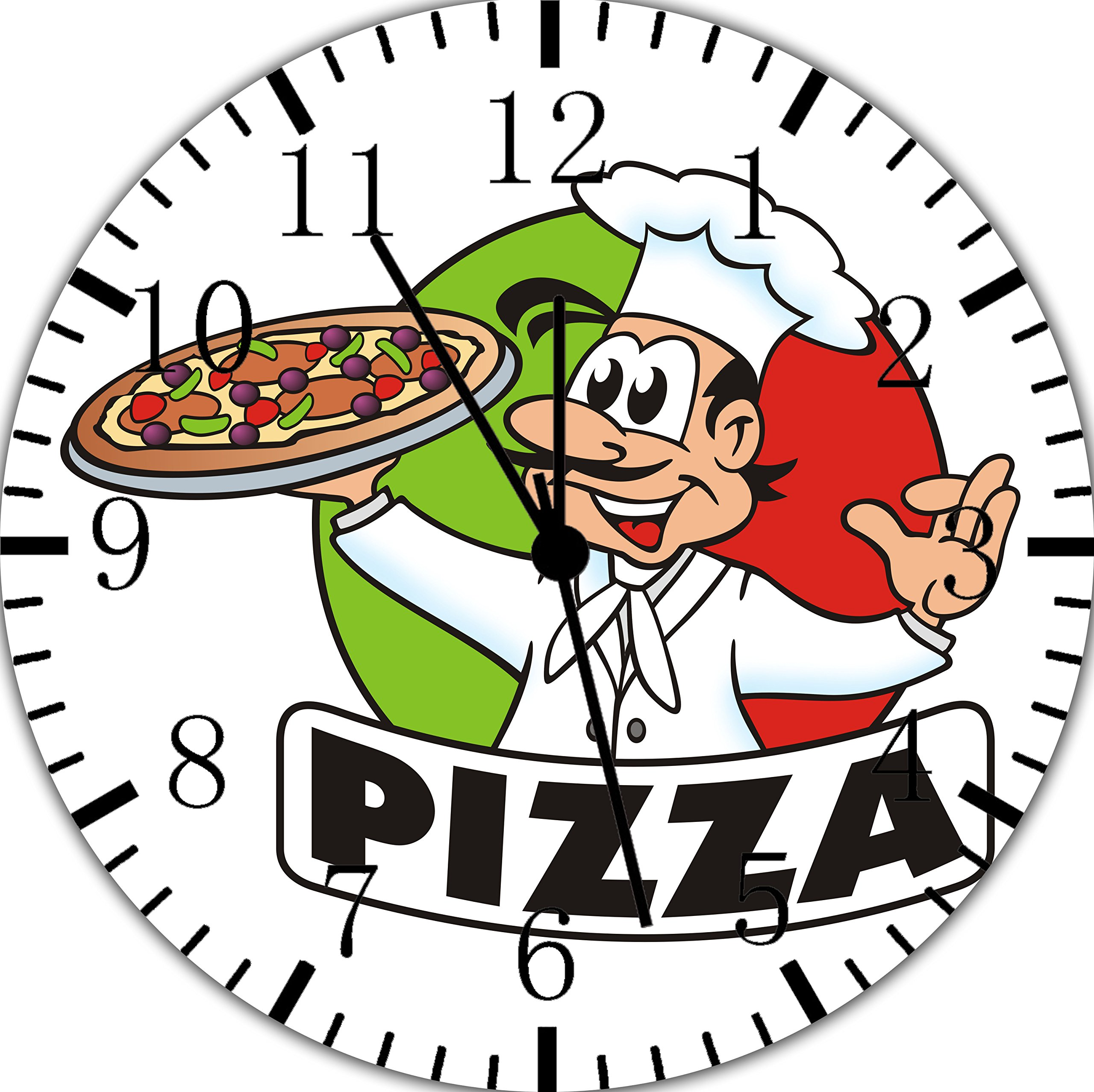 Pizza Chef Frameless Borderless Wall Clock E166 Nice For Gift or Room Wall Decor