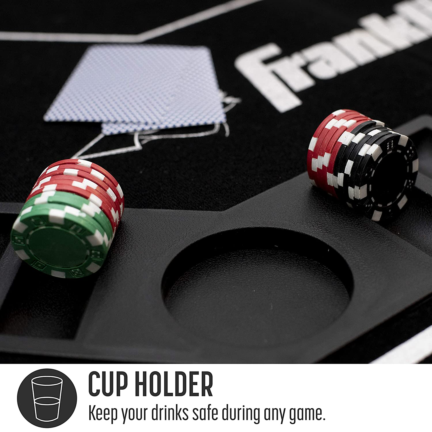 Portable 8 Person Card Game Table Top Franklin Sports Folding 10 Person Poker Table Casino Style Easy Card Slide Felt Layout with Cup Holders