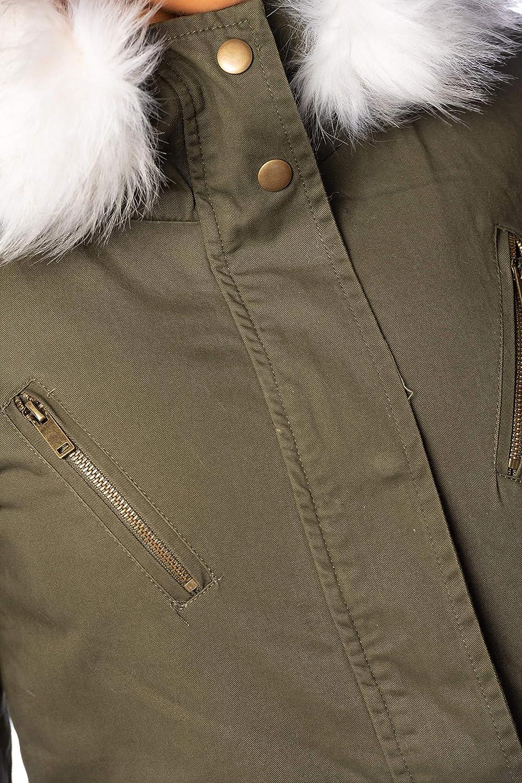 CREATIONS DOUCEL Parka Style Militaire à Capuche bordée de Fausse Fourrure La Petite Parisienne Hiver Femme Kaki-blanc