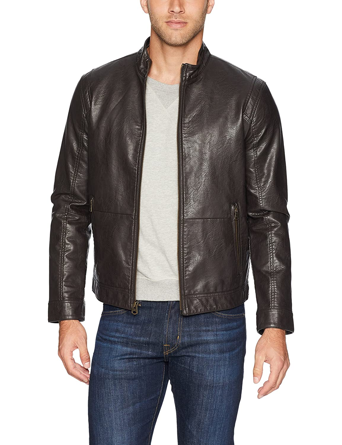 a03a92c33 Dockers Men's The Dylan Faux Leather Racer Jacket at Amazon Men's ...