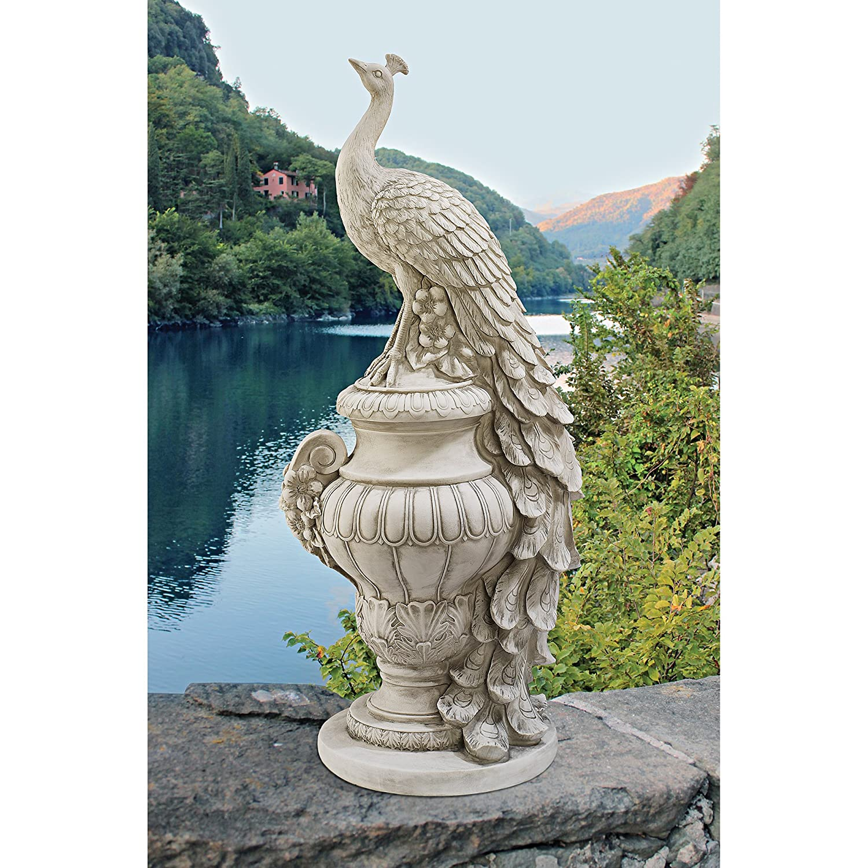 Antique Stone Design Toscano Staverden Castle Peacock on an Urn Garden Statue Polyresin 86.5 cm
