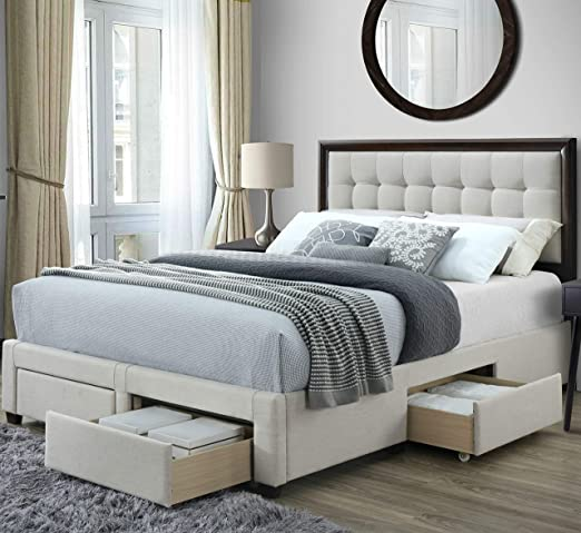 Amazon Com Dg Casa Soloman Upholstered Panel Bed Frame With