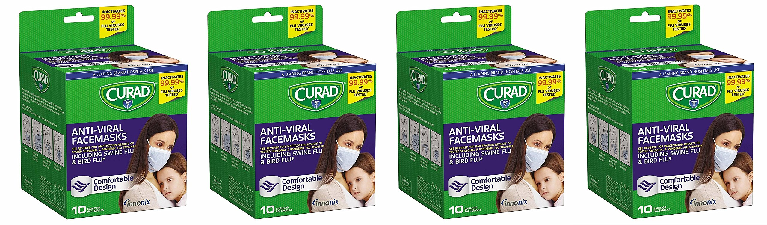 Curad Antiviral lGcRgv Face Mask, 10 Count (Pack of 4)