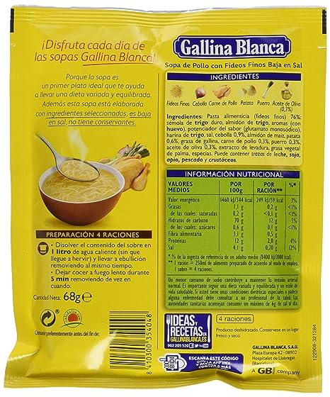 Gallina Blanca - Sopa de Pollo con Fideos Finos Bajo en Sal - 68g - [Pack de 24]: Amazon.es: Alimentación y bebidas