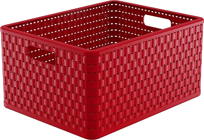 43 x 33 x 21,5 cm Rotho Country Aufbewahrungskiste in Rattan-Optik A4+ // 28 Liter PP rot Kunststoff