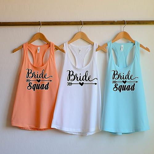 49462ada2 Amazon.com: Bride Squad Bachelorette Party Shirts, Bridesmaid shirts,  bridal party tank top, bride squad tank top, bridesmaids tank top: Handmade