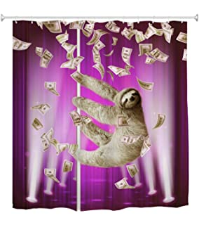 Slothzilla Funny Waterproof Shower Curtain of Sloth Climbing in New York 72x72