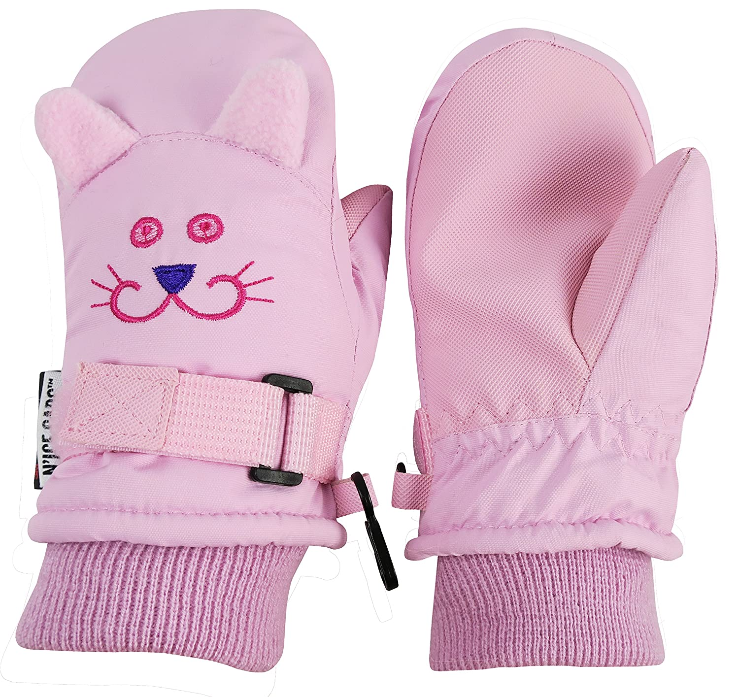 N'Ice Caps Little Girls and Baby Cute Animal Faces Waterproof Winter Mittens 4978-G