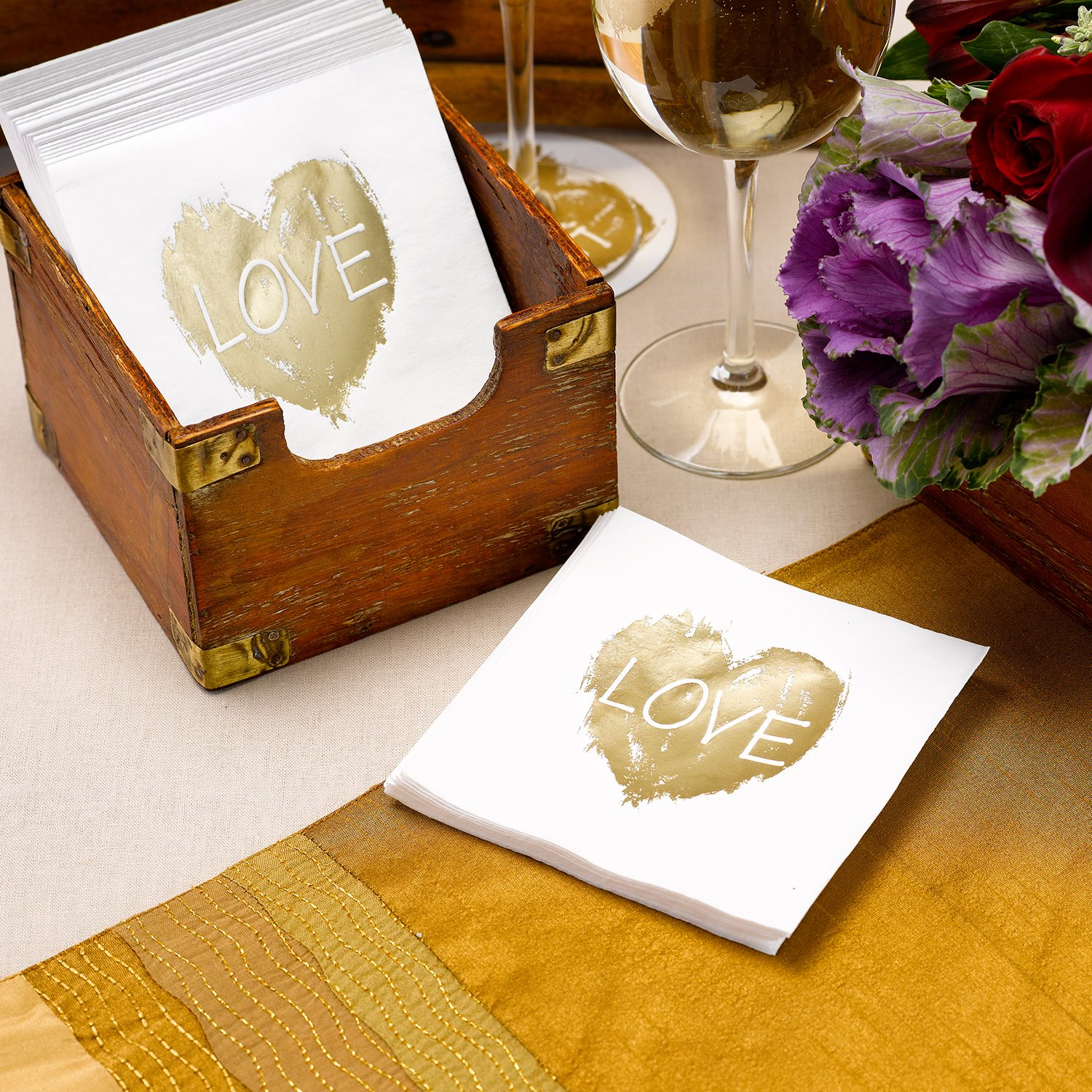 Hortense B. Hewitt 50 Count Brush of Love Napkins, Gold by Hortense B. Hewitt (Image #2)